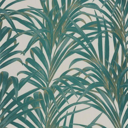 Обои Casadeco 1930 MNCT28927222 зеленые пальмы на белом