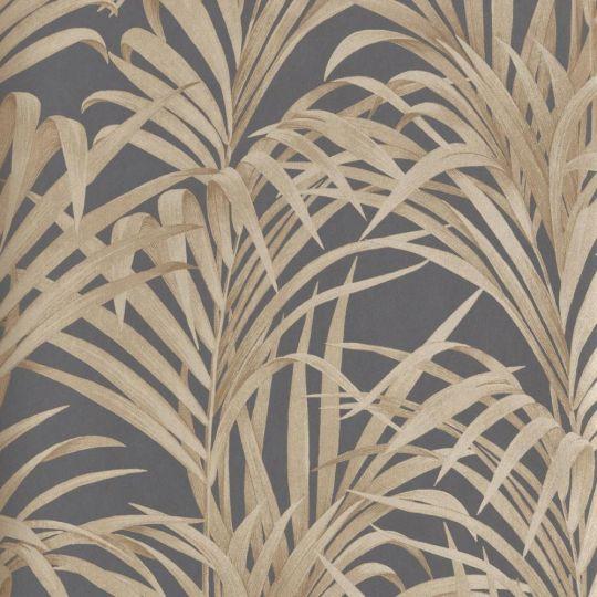 Обои Casadeco 1930 MNCT28929939 золотые пальмы на графитовом