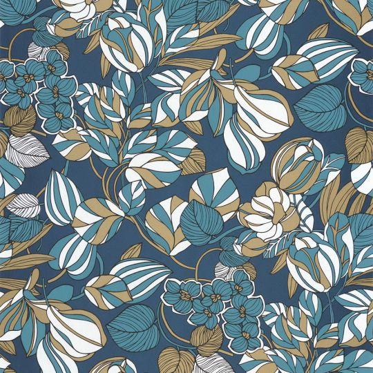 Обои Casadeco 1930 MNCT85716306 цветочное полотно сине-золотое