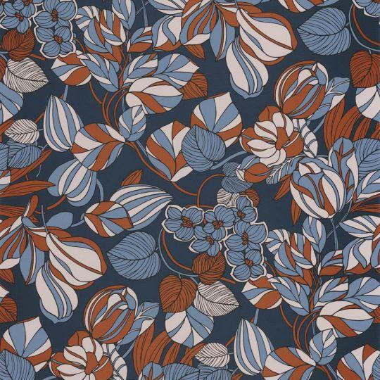 Обои Casadeco 1930 MNCT85716414 цветочное полотно сине-оранжевое