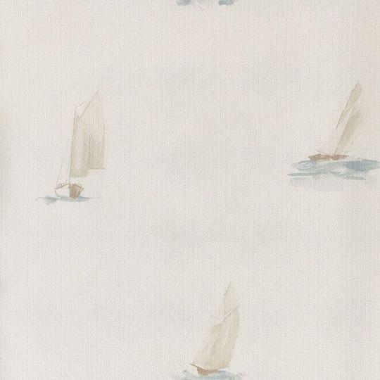 Обои Casadeco Marina MRN25067212 парусник на белом фоне