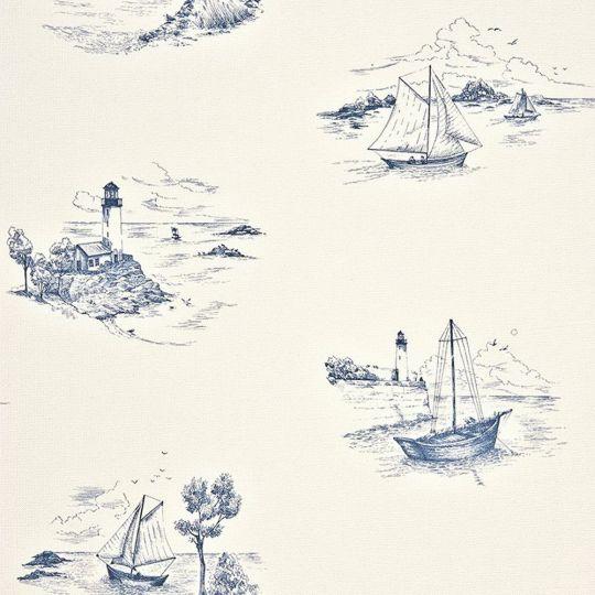 Обои Casadeco Marina MRN25076131 морской пейзаж бело-синий