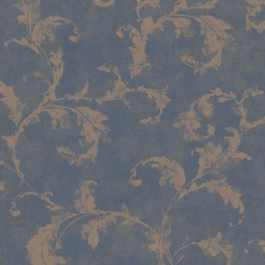 Шпалери Casadeco Montsegur MTSE80796475 арабеска мідна на темно-синьому