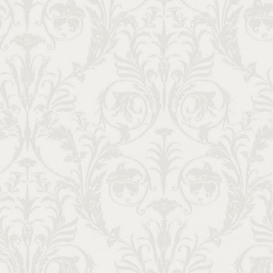 Шпалери Casadeco Montsegur MTSE86020126 з класичними сірими візерунками на білому тлі