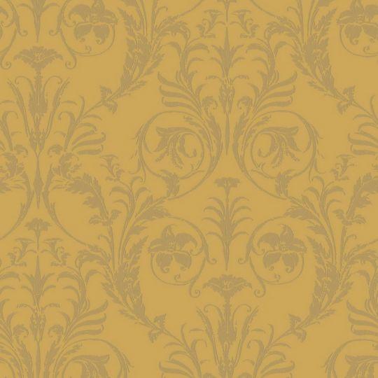 Обои Casadeco Montsegur MTSE86022235 с классическими золотыми узорами на желтом фоне