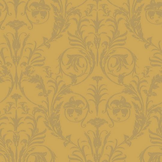 Шпалери Casadeco Montsegur MTSE86022235 з класичними золотими узорами на жовтому фоні