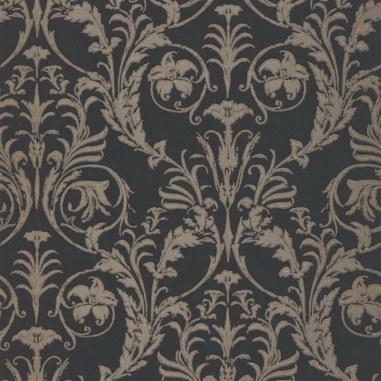 Шпалери Casadeco Montsegur MTSE86029511 з класичними візерунками на чорному тлі