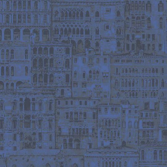 Обои Casadeco Montsegur MTSE86056518 старый город синий электрик