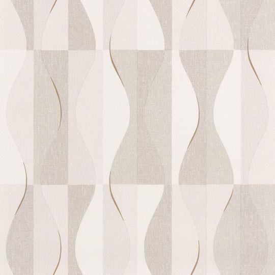 Шпалери Caselio Moove MVE101381212 хвилі біло-коричневі