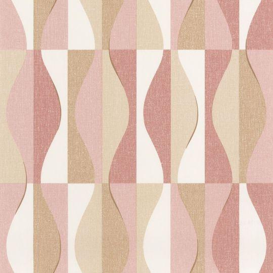 Шпалери Caselio Moove MVE101382802 хвилі рожево-бежеві