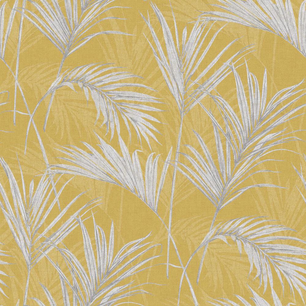 Обои Grandeco Myriad MY2001 пальмовые листья желтые