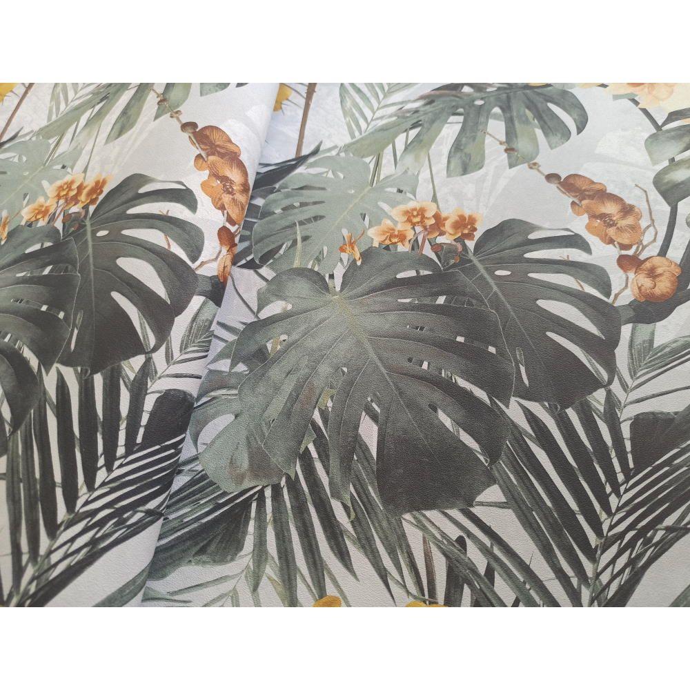 Шпалери Grandeco Myriad MY2101 орхідея гірчично-сіра
