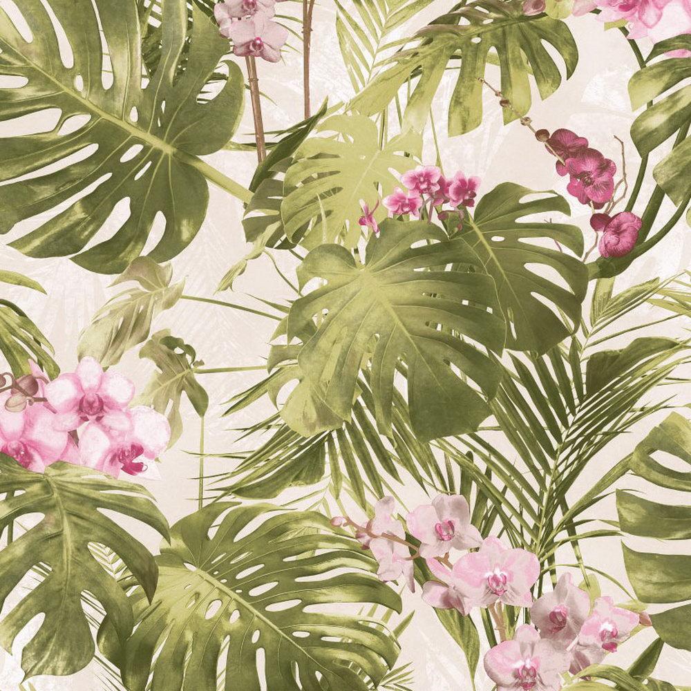 Шпалери Grandeco Myriad MY2102 орхідея зелено-рожева
