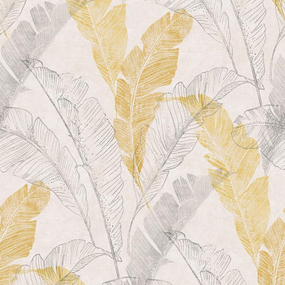 Обои Grandeco Myriad MY2202 банановые листья бело-горчичные