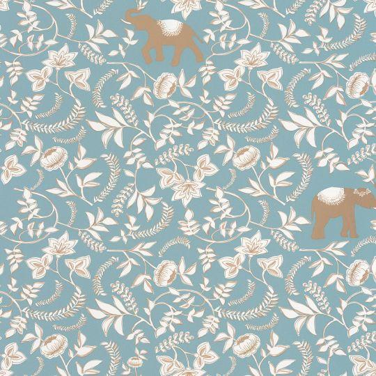 Обои Caselio Mystery MYY101596217 слоны и пионы голубой