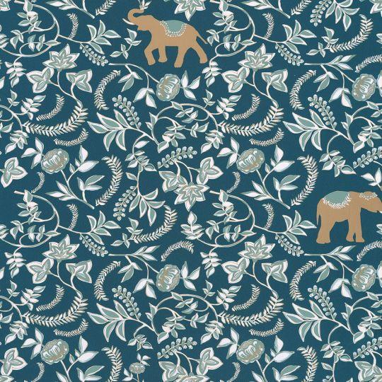 Обои Caselio Mystery MYY101596501 слон и пионы синие