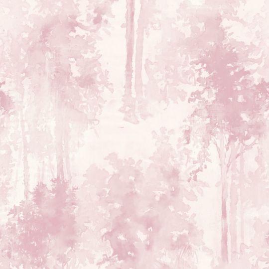 Шпалери Grandeco New Aurora NA3204 дерево акварель ніжно-рожеве