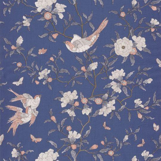 Обои Casadeco Natsu NATS82136515 райская птичка синие