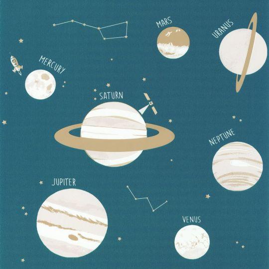 Детские обои Caselio Our Planet OUP101906011 планеты синие