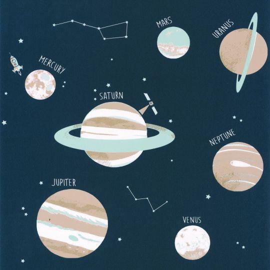 Дитячі шпалери Caselio Our Planet OUP101906906 планети темно-сині