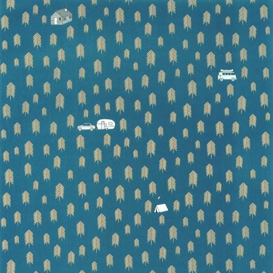 Дитячі шпалери Caselio Our Planet OUP101976029 лісової кемпінг синій