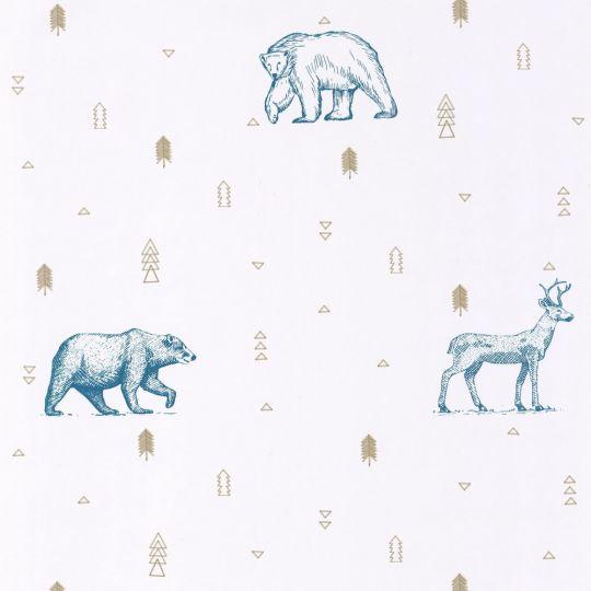 Дитячі шпалери Caselio Our Planet OUP101986009 ведмеді Грізлі сині на білому