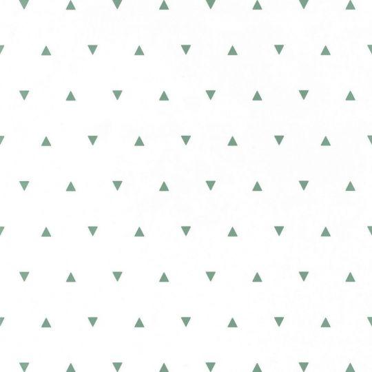 Дитячі шпалери Caselio Our Planet OUP101997101 трикутнички блідо-зелені на білому