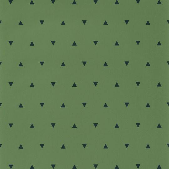 Дитячі шпалери Caselio Our Planet OUP101997400 трикутнички на темно-зеленому тлі