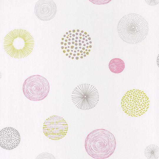 Обои Caselio Pretty Lili PRLI69244077 круги розово-салатовые