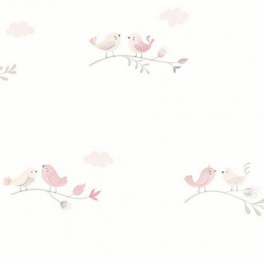 Детские обои Casadeco Rose & Nino RONI85584298 птички розово-кремовые