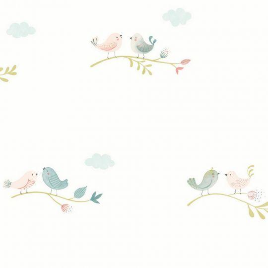 Детские обои Casadeco Rose & Nino RONI85586241 птички яркие