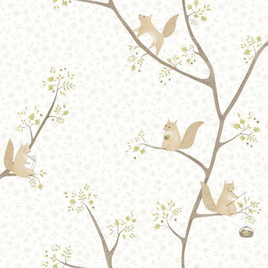 Дитячі шпалери Casadeco Rose & Nino RONI85617110 білочки дубок оливка