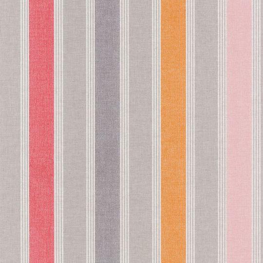 Обои Caselio Swing SNG68903791 в полоску розово-оранжевые