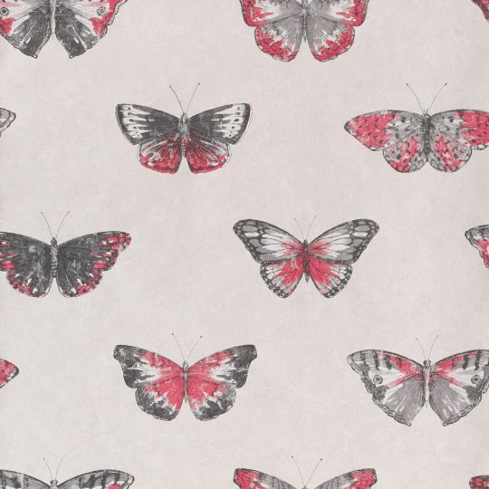 Обои Caselio Street Art SRE68214003 бабочки серо-розовые