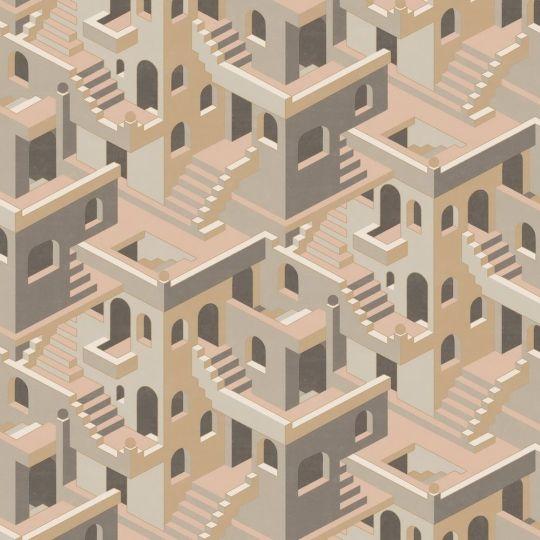 Обои Casadeco Utopia UTOP85111327 3D лестницы розово-серые