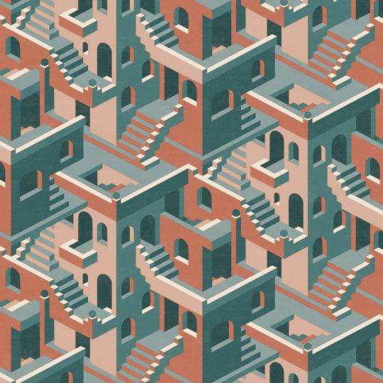 Обои Casadeco Utopia UTOP85113515 3D лестницы оранжево-синие