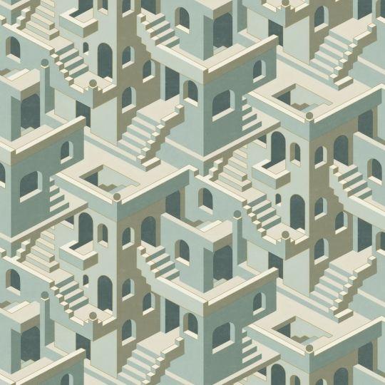 Обои Casadeco Utopia UTOP85117258 3D лестницы бирюзовые