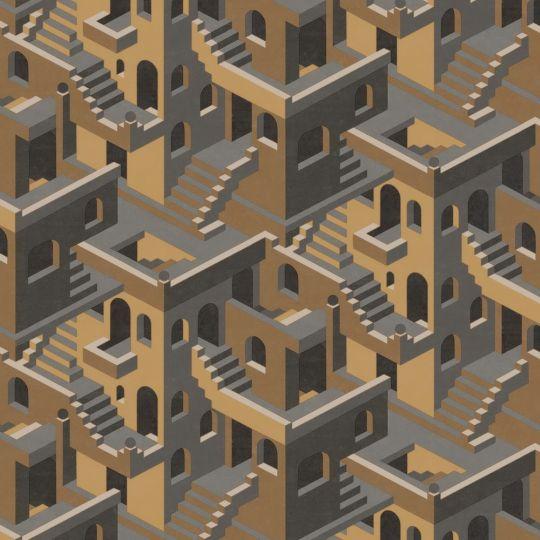 Обои Casadeco Utopia UTOP85119241 3D лестницы графитово-желтые
