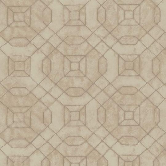 Обои Galerie Metallic FX W78220 геометрия золотая на коричневом