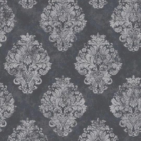 Шпалери Galerie Metallic FX W78227 зі срібними гобеленами на чорному
