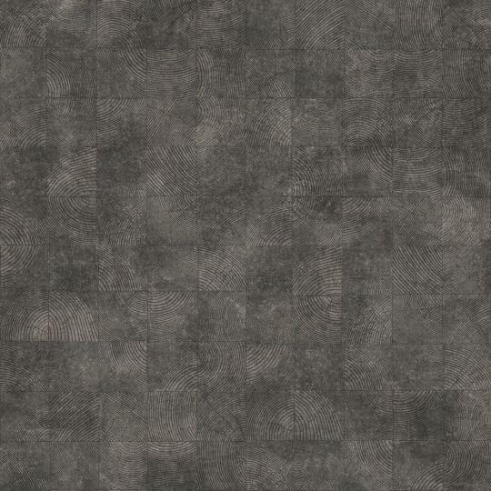 Обои Casadeco Woods WOOD86019534 квадратики с текстурой графитовые