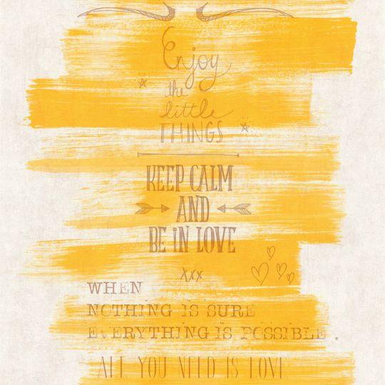 Шпалери Caselio Words WRD67082000 постер на жовтому